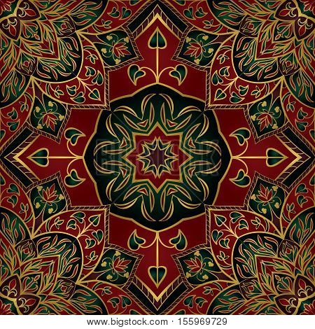 Seamless red and green abstract pattern. Oriental ornament. Template for carpet shawl cushion.