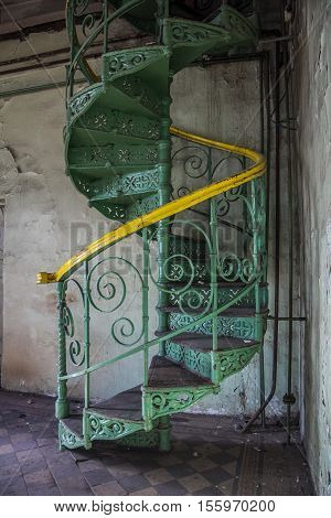 Spiral staircase in an abandoned Voronezh Distillery