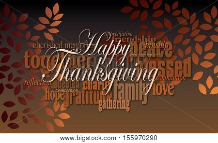 Graphic typographic montage illustration of the sentiment Happy Thanksgiving composed of associated terms and simple graphic leaves in warm autumn tones. An inspirational uplifting contemporary design.