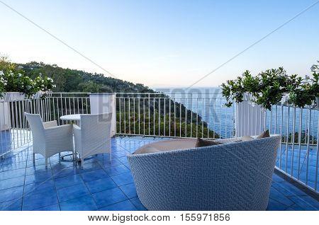 Resort Balcony in Sorrento Italy Overlooking the Mediterranean Sea