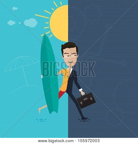 A businessman or manager of a cheerful and well rested in a hurry to work in the hands of briefcase and a surfboard Vector illustration in flat cartoon style isolated from the background EPS 10