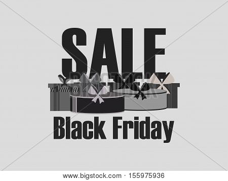 Black Friday Sales Promotion Gift Box. Buy Gifts, Sale. Vector Illustration.