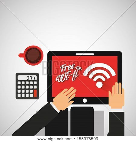 worker on tablet wifi free cup coffee vector illustration eps 10