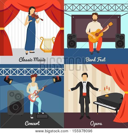Theatre concept icons set with bard fest and opera symbols flat isolated vector illustration