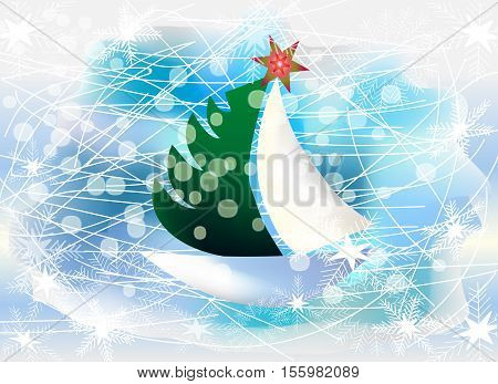 Vector Illustration of abstract boat with christmas tree slipping on ice, shining stars. Idea for X-mas and New Year decoration, banner background and postcard. Cartoon style.