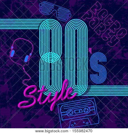 Retro style 80s disco design neon. 80s party, 80s fashion, 80s background, 80s graphic, 80s style, light disco party 1980, club vintage, dance night. Easy editable for Your design.