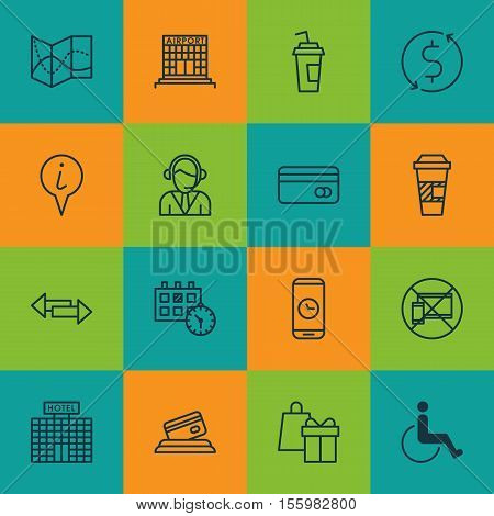 Set Of Transportation Icons On Shopping, Plastic Card And Takeaway Coffee Topics. Editable Vector Il