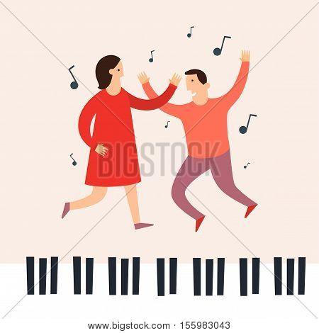 Dancing to the music of a man and a woman. Image of the piano keys, music.