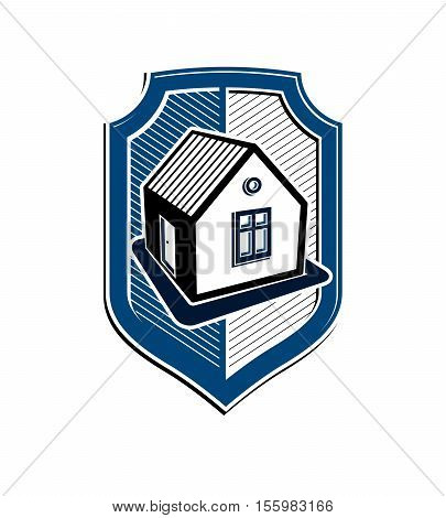 Home insurance vector conceptual icon made with protection shield with a simple house.