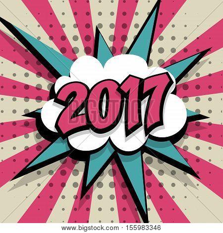 New year 2017. Speech comic bubble text pink background. Pop art style vector illustration. Retro burst expression speech pop art bubble cloud explosion. Boom communication graphic talk humor