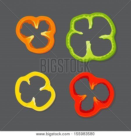 Set diced peppers Vector illustration in flat cartoon style isolated from the background EPS 10