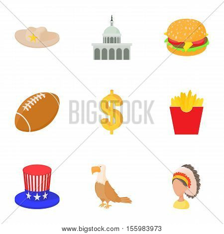 Stay in USA icons set. Cartoon illustration of 9 stay in USA vector icons for web
