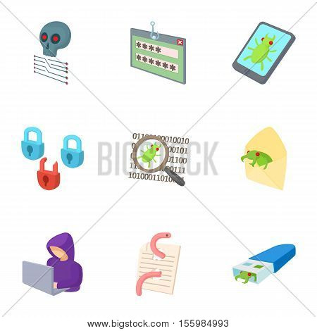 Ddos attack icons set. Cartoon illustration of 9 ddos attack vector icons for web
