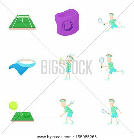Tennis icons set. Cartoon illustration of 9 tennis vector icons for web