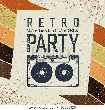 Retro party advertising flyer with old audiocassette. Old-fashioned poster design. Vector vintage illustration. Sunburst retro background