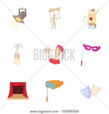 Theatrical production icons set. Cartoon illustration of 9 theatrical production vector icons for web