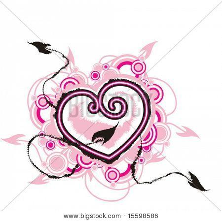 corazón con flechas de amor buscando par