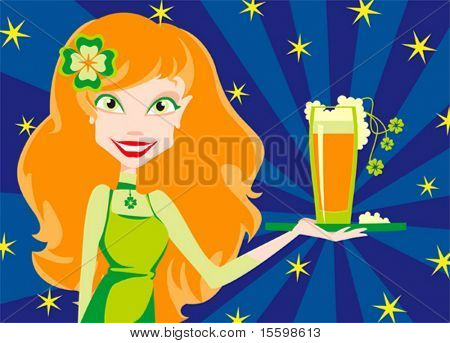 red girl with mug of beer for Patrick's Day