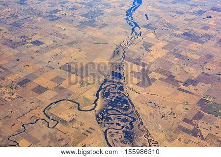 Beautiful River And Field Near Minot