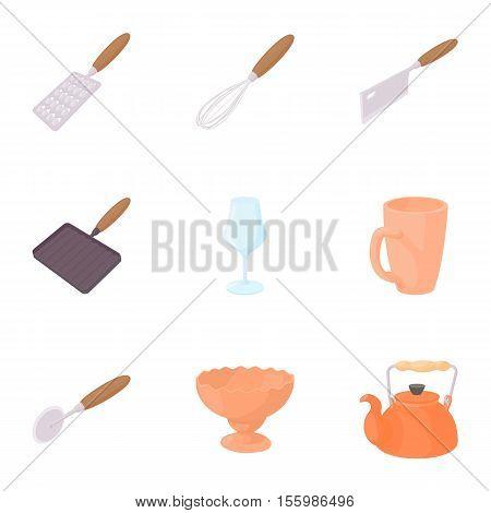 Eating utensils icons set. Cartoon illustration of 9 eating utensils vector icons for web