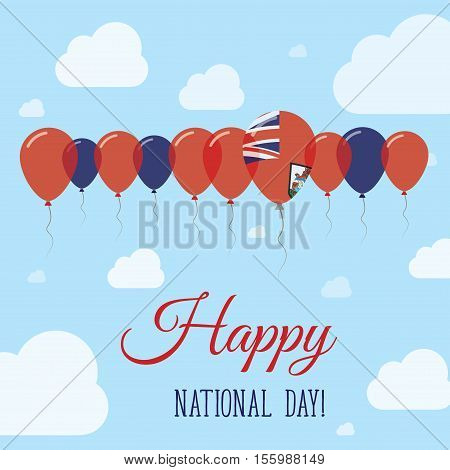 Bermuda National Day Flat Patriotic Poster. Row Of Balloons In Colors Of The Bermudian Flag. Happy N