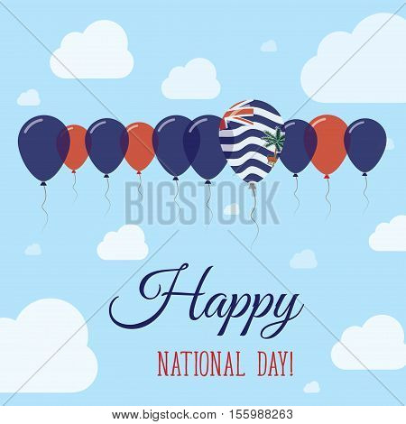 British Indian Ocean Territory National Day Flat Patriotic Poster. Row Of Balloons In Colors Of The