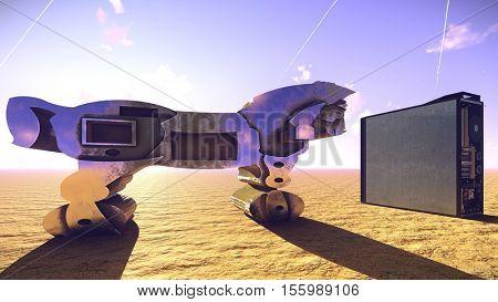 Trojan horse and computer 3d illustration