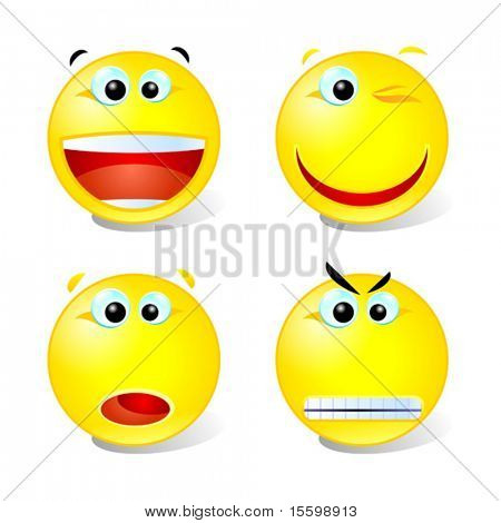 vector cheerful,winking,surprised and angry smiley