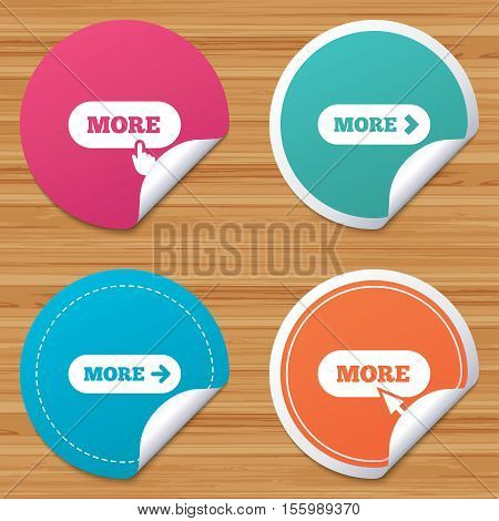 Round stickers or website banners. More with cursor pointer icon. Details with arrow or hand symbols. Click more sign. Circle badges with bended corner. Vector