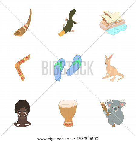 Australia icons set. Cartoon illustration of 9 Australia vector icons for web