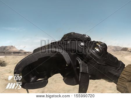 First person view view soldier hand in black battle gloves & tactical jacket holding vr glasses on desert war scene with health & armor indicator.