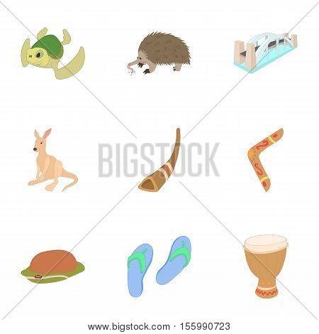 Country Australia icons set. Cartoon illustration of 9 country Australia vector icons for web