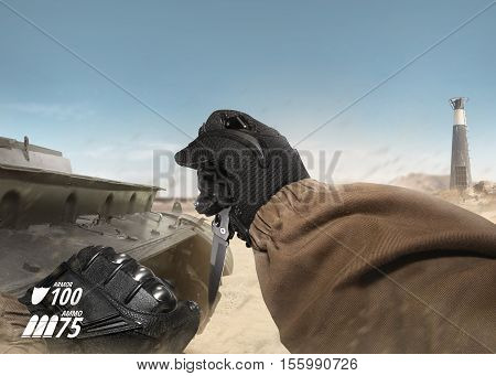 First person view soldier hand in black battle gloves & tactical jacket holding knife ready to attack on desert tank war scene with health & armor indicator.