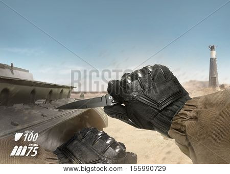 First person view soldier hand in black battle gloves & tactical jacket holding knife ready to use on desert tank war scene with health & armor indicator.