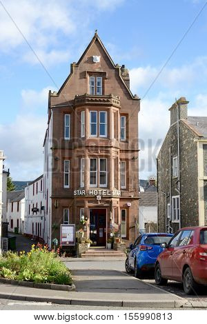 MOFFAT, UK - NOVEMBER 5, 2016: The star hotel, recorded in the Guinness book of records as the worlds narrowest hotel at 20ft wide, Moffat, Scotland, UK