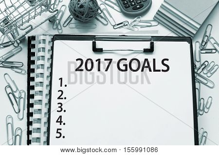 2017 Goals / New year resolutions, plans, aspirations list concept