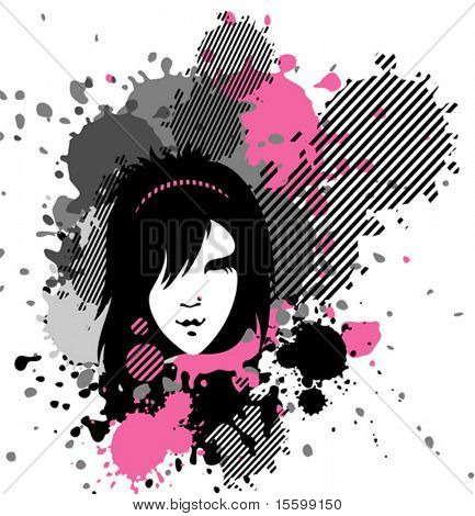 vector  emo girl in stains, see also images ID:  20291062, 20291065