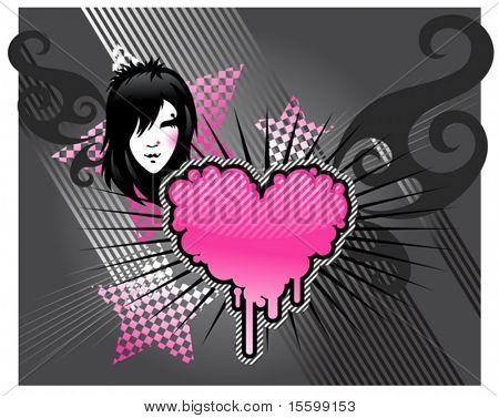 Emo Mädchen und Herzen, Bilder siehe auch ID: 20020564, 20291065