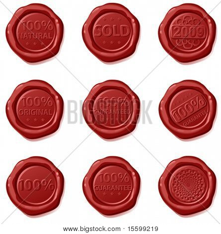 sealins waxes with text- 100% guaranteed, original, natural, 2009,sold