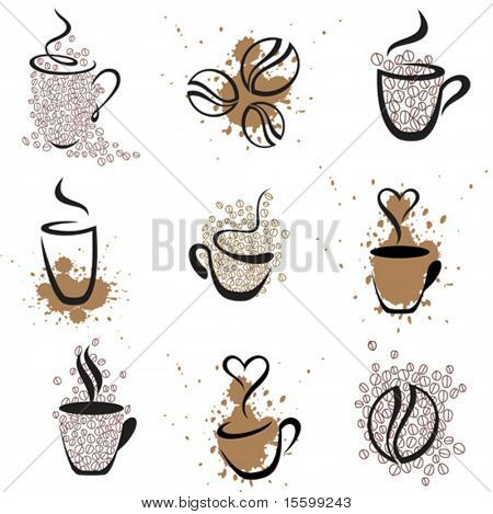 vector coffee elements,  see also image  21031069