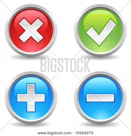 internet buttons - delete, eccept, add, exclude;
