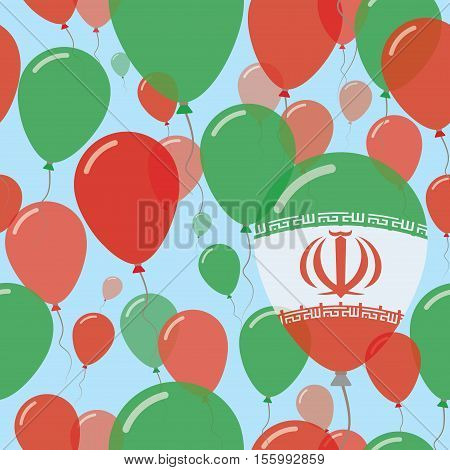 Iran, Islamic Republic Of National Day Flat Seamless Pattern. Flying Celebration Balloons In Colors