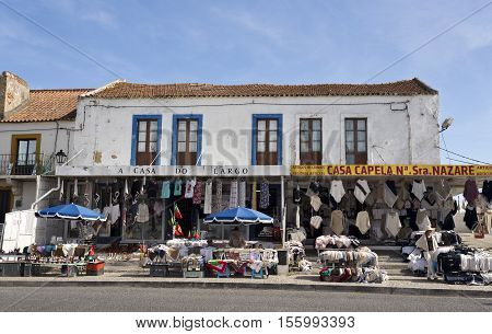 NAZARE, PORTUGAL - September 13, 2016: View of the artisan shops and products located on the hilltop O Sitio overlooking Nazare Portugal.