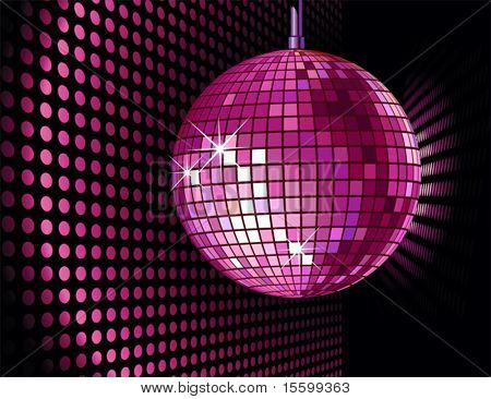 vector background with disco ball for valentine's party
