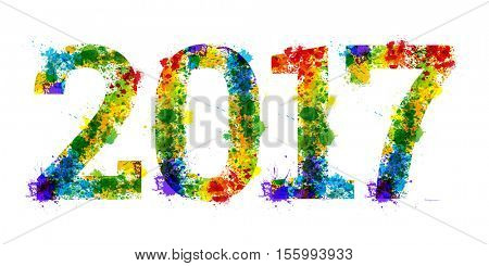2017 year Colourful bright ink splat design on white background