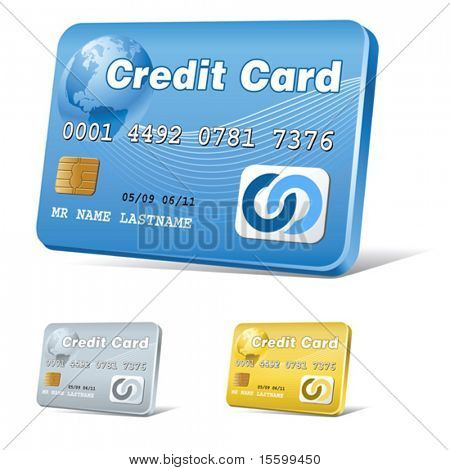 vector realistic credit card icon, blue,gold and silver versions
