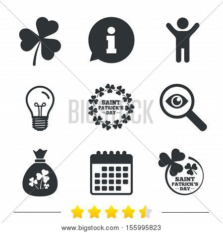 Saint Patrick day icons. Money bag with clover sign. Wreath of trefoil shamrock clovers. Symbol of good luck. Information, light bulb and calendar icons. Investigate magnifier. Vector
