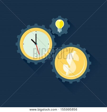 Gears time is money concept. Vector illustration in flat style isolated from the background