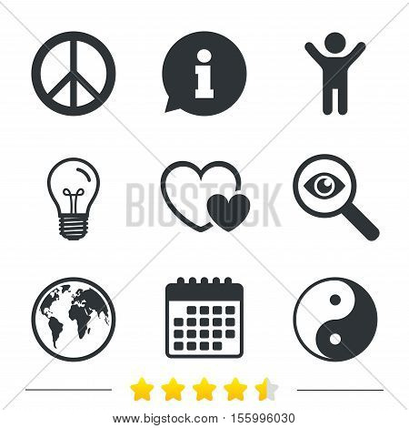 World globe icon. Ying yang sign. Hearts love sign. Peace hope. Harmony and balance symbol. Information, light bulb and calendar icons. Investigate magnifier. Vector