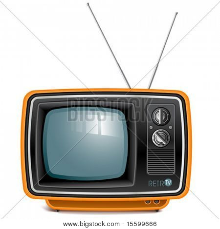vector detailed retro tv set